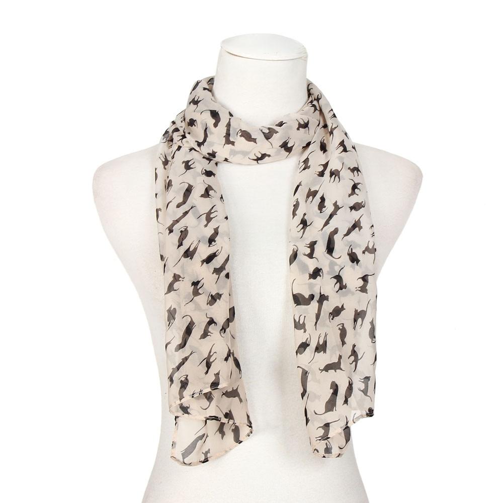 Scarfs Print Cat Black Women Scarve Chiffon Wraps Lady Shawl Chiffon Scarf Scarves  #YL1