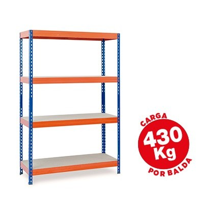 SHELF METALICA AR STORAGE 200X100X60CM 4 SHELF FOR SHELVES 430KG TRAYS MADERASIN BOLTS BLUE ORANGE