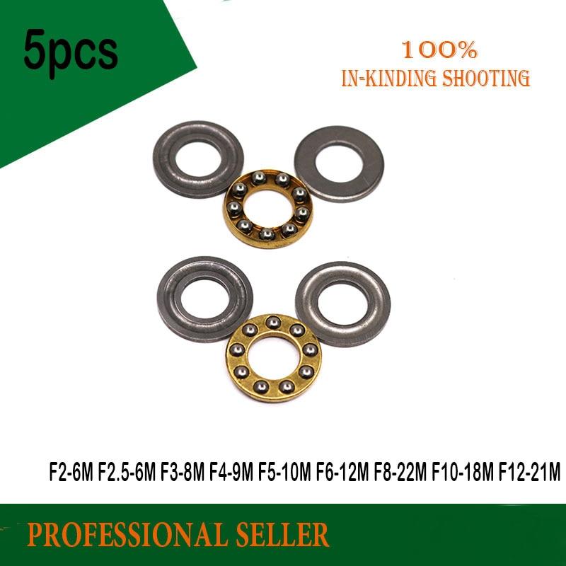 5PCS F2-6 F2.5-6 F3-8 F4-9 F4-10 F5-10 F5-11 F5-12 F6-12 F6-14 F7-13 F8-16 F10-18 F12-21M Axial Ball Thrust Bearing
