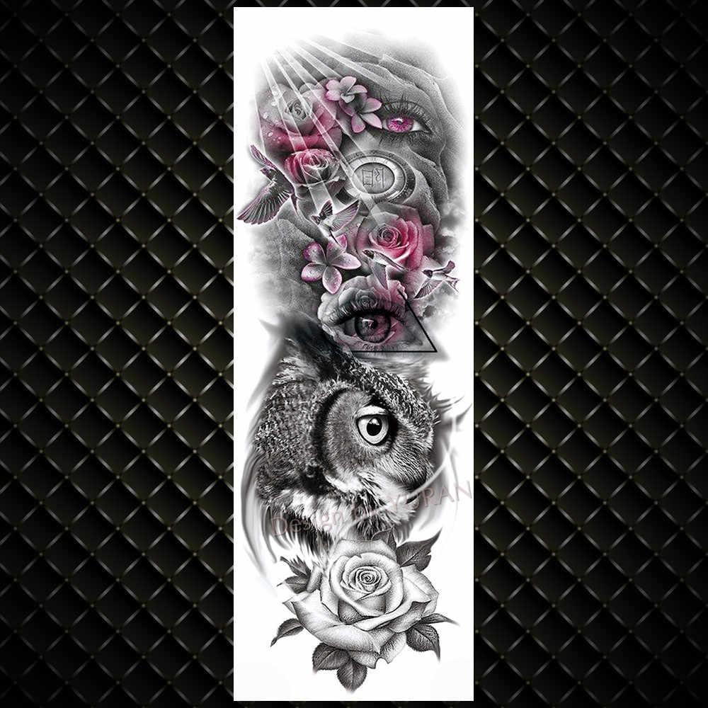 YURAN Realistico Pieno Fiore Braccio Tatuaggi Temporanei Per Gli Uomini Delle Donne di Rosa Evil Eye Falso Autoadesivo Del Tatuaggio Acqua Tranfer Body Art tatuaggi