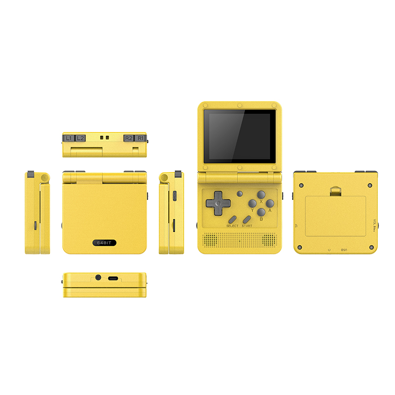 POWKIDDY v90 3-inch IPS screen Flip Handheld console dual open system game console 16 simulators retro PS1 kids gift 3D new game 3