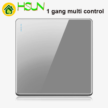High-grade 1 2 3 4 gang 1 2 way big panel Grey switch socket Type 86 Wall 2.5D Cambered Mirror Toughened glass Computer TV 10