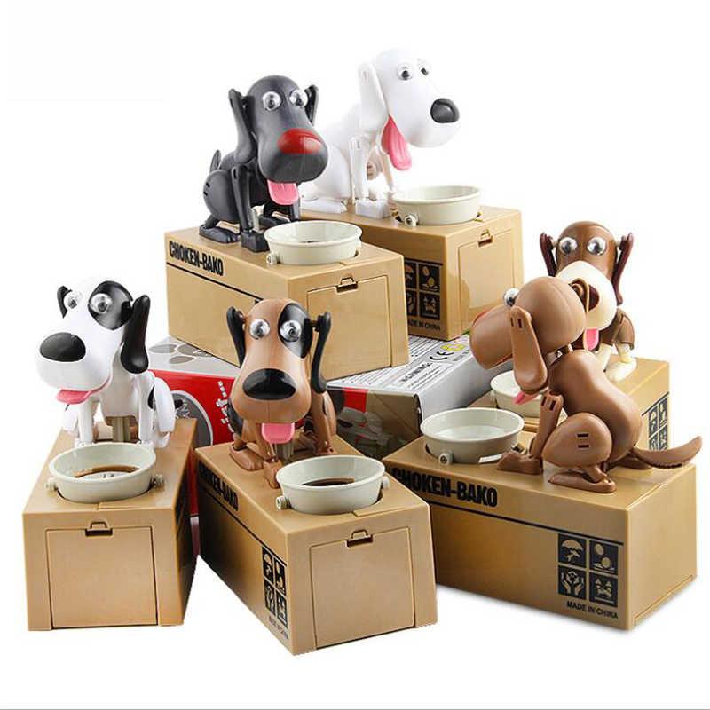 Ganancioso robótico doggy banco choken bako filhote de cachorro caixa de dinheiro cão com fome moeda banco automático de poupança de dinheiro pote amantes do cão caixa de dinheiro presente