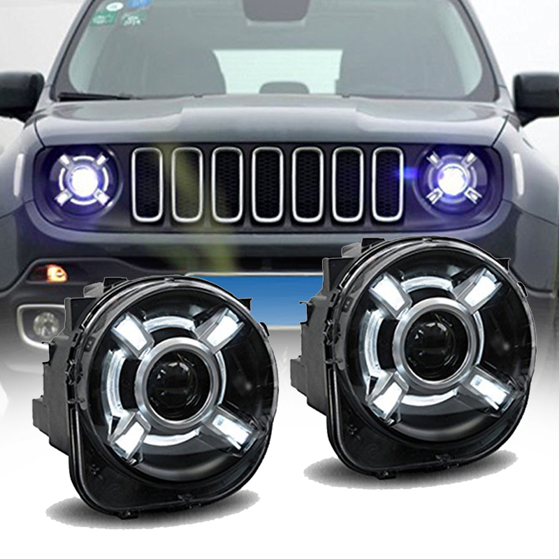 Pair For 2015-2017 Jeep Renegade HID Headlight With DRL And Bi-xenon Projector For Jeep Renegade BU HID H4 Head Lamp Headlights
