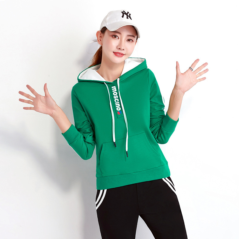 Sports Casual WOMEN'S Suit Spring And Autumn Running Sports Long Sleeve Pullover Hoody Two-Piece Set Team Sports Clothes Customi