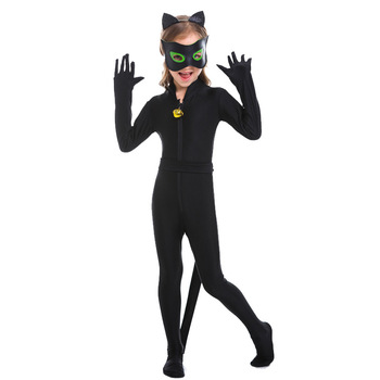 Cute Black Cat Costume Cosplay For Girls Halloween Costume For Kids Carnival Party Animals Dress Up infant toddlers baby boys girls raccoon cosplay costume for halloween christmas purim holiday dress up party