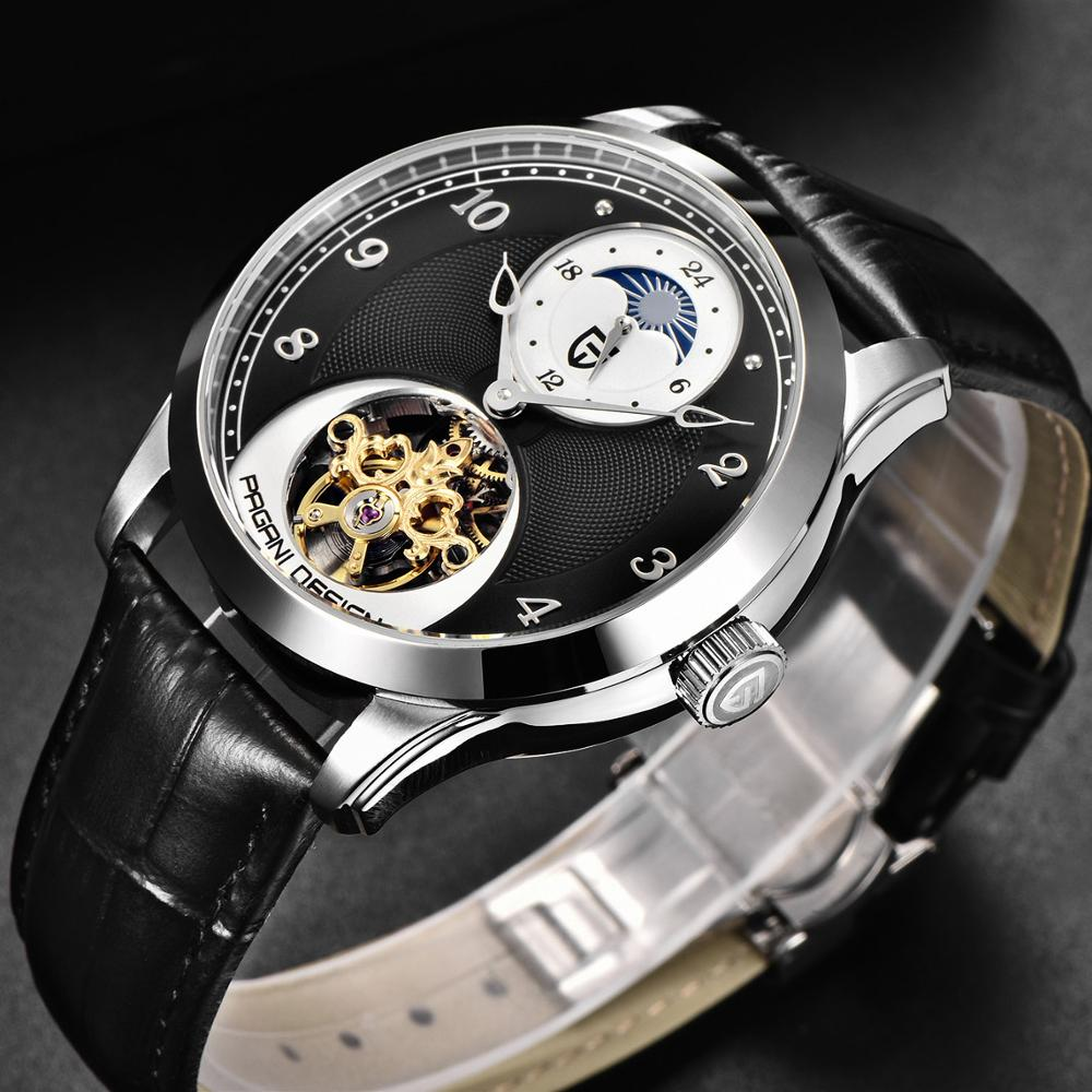 PAGANI DESIGN Luxury Brand Hollow Mechanical Watch Men Tourbillon Automatic Leather Band Business Watch Male Clock montre homme