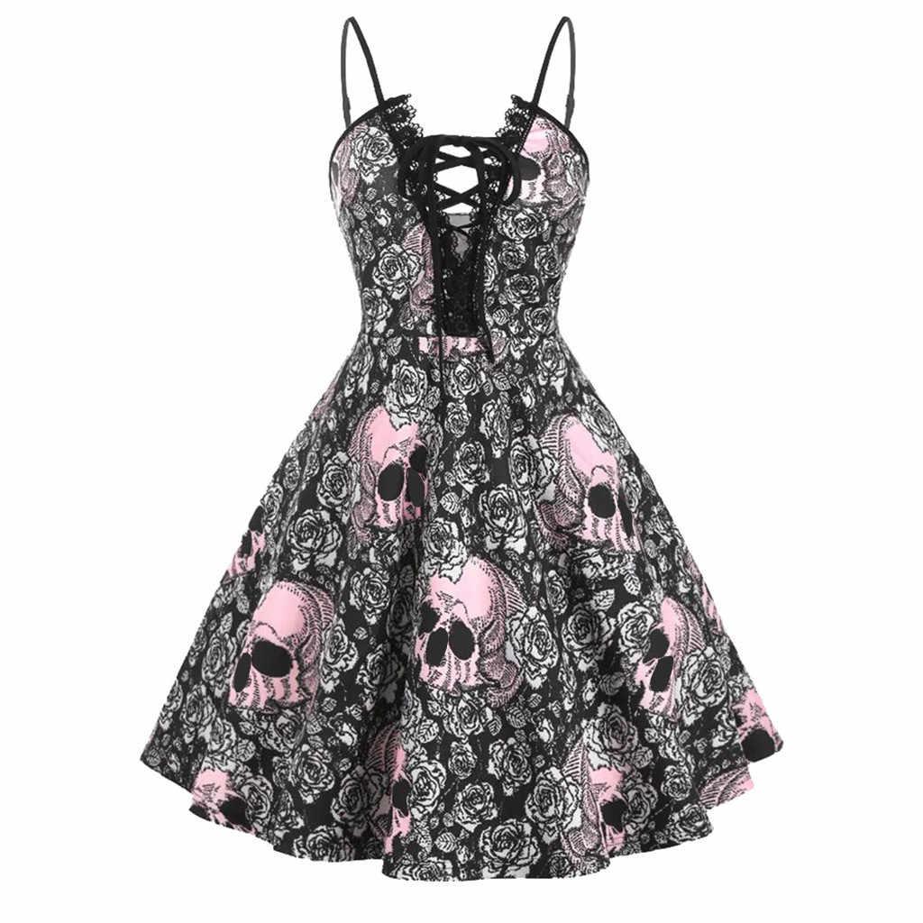Sexy Mini vestido sin mangas para mujer Halloween calavera estampado encaje plisado Vestidos de fiesta elegante fiesta princesa Vestidos