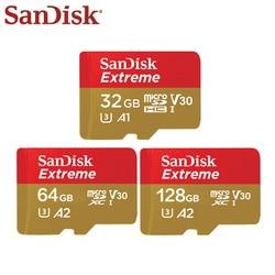オリジナルサンディスクエクストリームマイクロ SD カード 128 ギガバイト 64 ギガバイト 32 ギガバイトの SDHC SDXC A2 U3 V30 メモリカード最大 160 メガバイト/秒 Microsd SD アダプタ