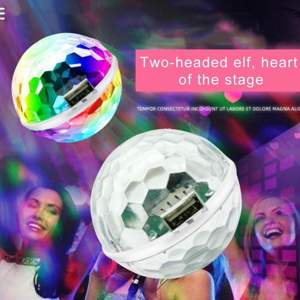 Lumières intérieures de voiture   Mini boule magique, lumière dambiance, voiture, USB RGB, contrôle sonore, 360 degrés DJ Disco, lumières de scène, style de voiture, nouveau