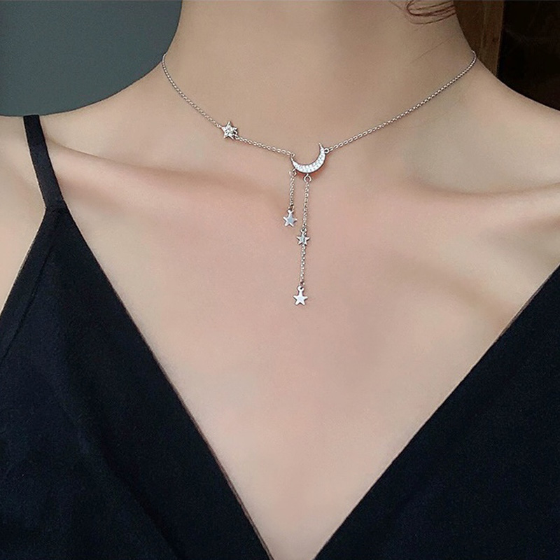 Fashion New 925 Sterling Silver Star Moon Choker Necklaces Shiny Chain Women Wedding Fine Jewelry