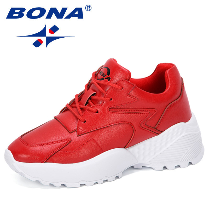 BONA 2019 New Designers Casual Shoes Women Outdoor Platform Shoes Woman Sneakers Ladies Trainers Chaussure Femme Comfy Trendy