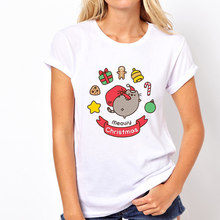Femmes noël Pusheen chat Harajuku Ullzang drôle T-shirt 90s dessin animé impression T-shirt graphique coréen Style t-shirts Kawaii t-shirts(China)