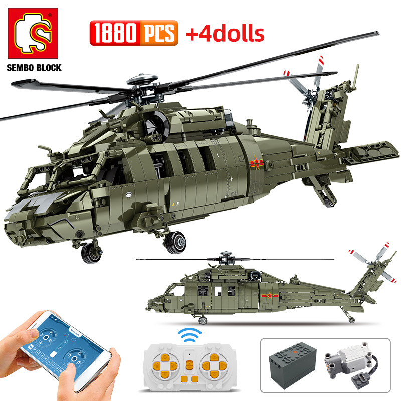 SEMBO Block WW2 City Police Remote Control Helicopter Aircraft Building Blocks