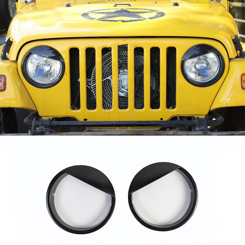 Angry Eyes Headlight Bezels Cover Trim For Jeep Wrangler TJ 1997-2006 Angry Bird Head Lights Bezel Lamp Cover