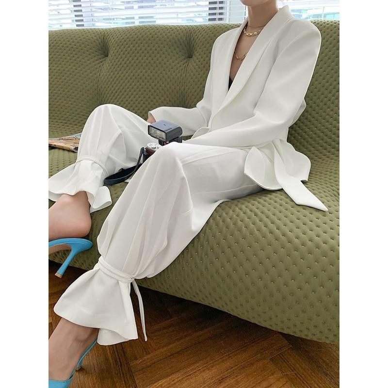 Two Piece Set Suits Women Long Sleeve Blazers+Pants Fashion Blazers Suit Jacket Coat Korean New Office Lady Female Clothing 2020