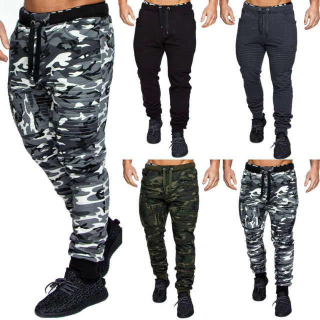 NEW Men's Military Army Sweat Pants Casual Camo Work Outdoor Zip Fly Cargo Pants Camouflage pants 4