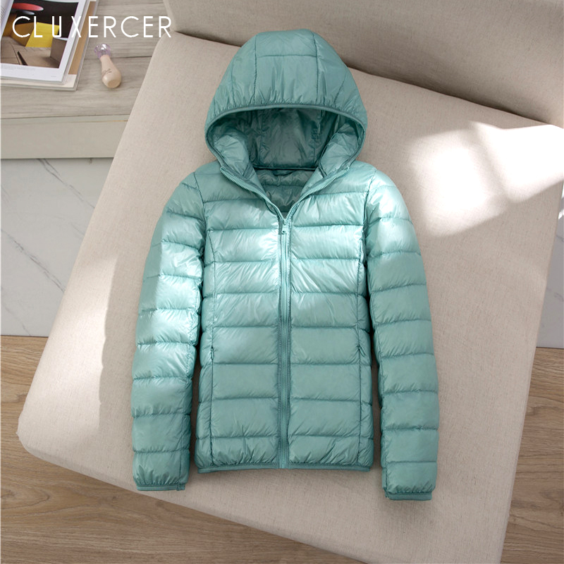 S~7XL Plus Size Women Light Down Jacket Coat 90% White Duck Down Coat Lady Hooded Winter Coat Long Sleeve Warm Slim Winter Coat