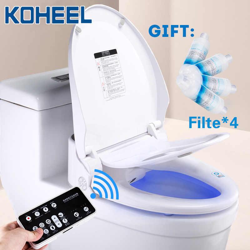 Koheel Smart Toilet Seat Cover Led Light Remote Smart Toilet Seat Heating Bidet Toilet Seat Bathroom Intelligent Toilet Seat Lid Aliexpress