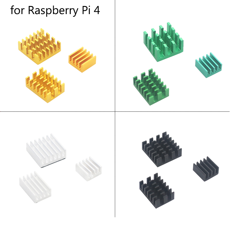 Raspberry Pi Heatsink Aluminum Heat Sinks Cooled Sink Colden Green Black Silver Cooling Pad For Raspberry Pi 4 Model B
