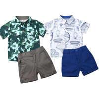 Conjunto de ropa para niño pequeño, traje Formal para niño pequeño, camisa de camuflaje, Top + Pantalones cortos, ropa de verano, 2 uds. 1-6T