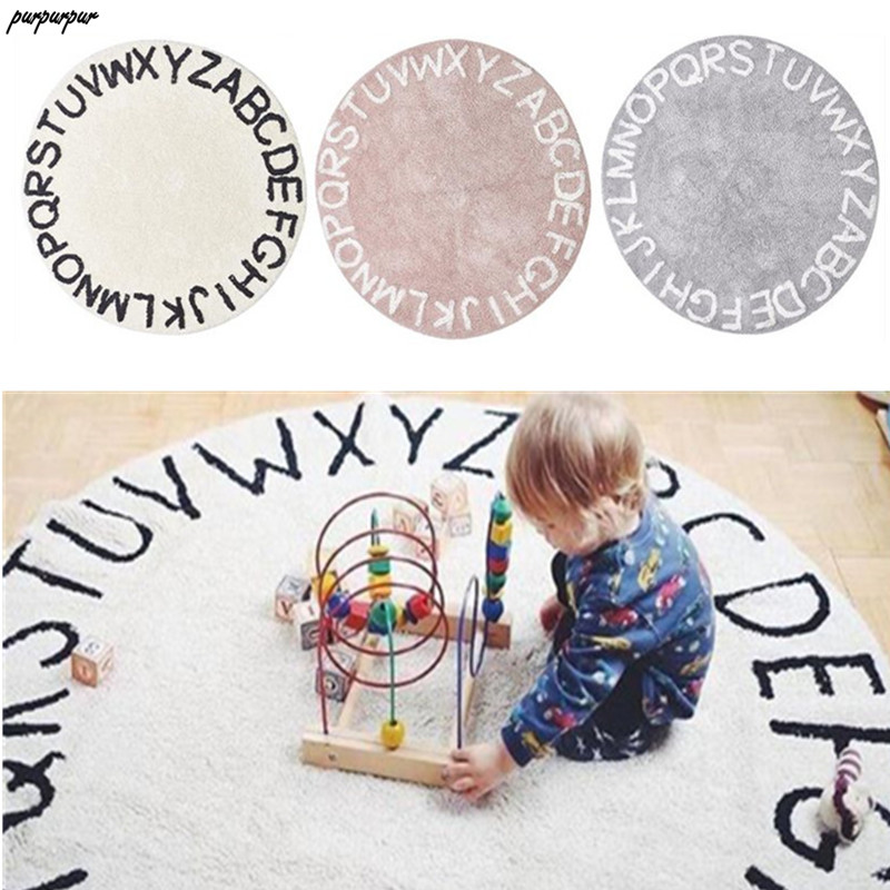 120cm Nordic ins Letter Playmat Round Area Rug Carpets Kids Baby Play Games Mat Antiskid Crawling Blanket Baby Bedroom Decor