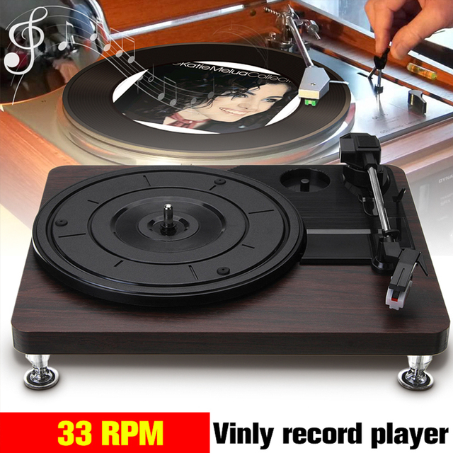 Retro Record Player 33RPM Turntable Vinyl Audio RCA R/L 3.5mm Output 2
