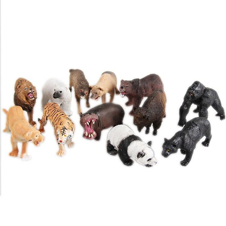 Juego de modelos de animales de bosque pequeño y salvaje Partes niños RC coches alemán Control remoto simulación juguete Tigre tanque para niño Mini regalo