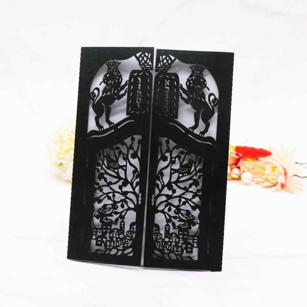 20 ピース/ロットレーザーカットライオン結婚式の招待状カード婚約ウェディングパーティー招待カード成人式典