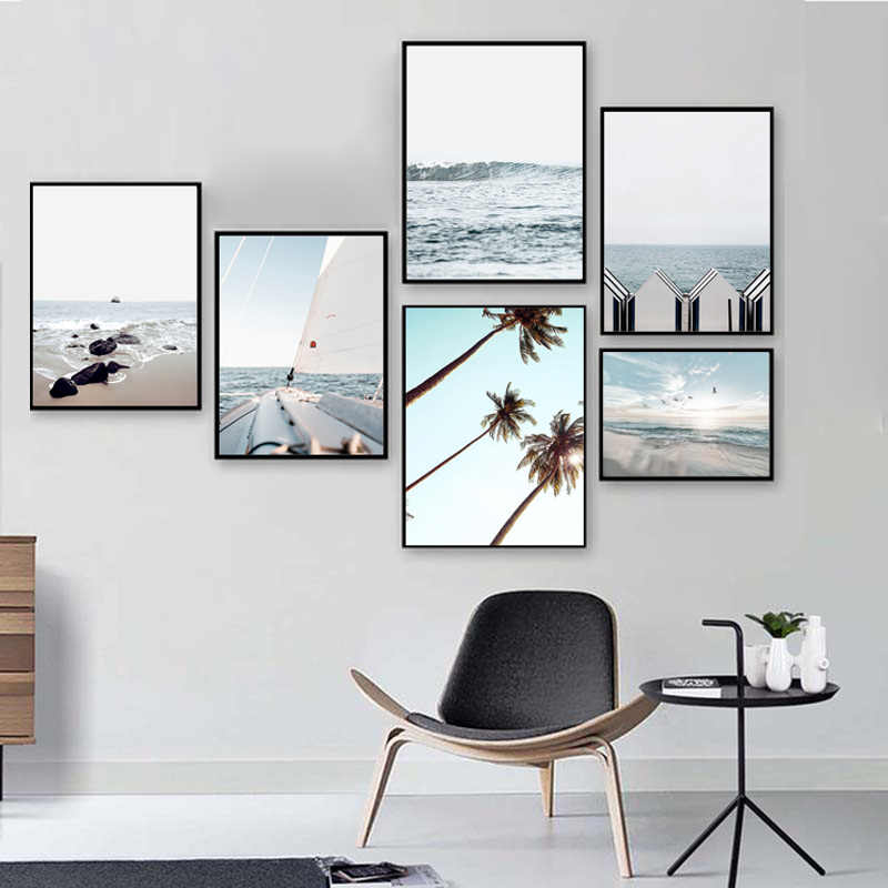 Scandinavian Beach Sea Gull Canvas Poster Nature Nordic Ocean Landscape Wall Art Print Painting Living Room Decorative Picture