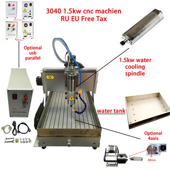 cnc 3040 3axis 4axis usb mach3 1.5kw spindle 3040 cnc router milling cutting drilling machine with water tank for metal wood pcb desktop cnc machine 3040z usb mach3 control pcb milling machine drilling router with handwheel