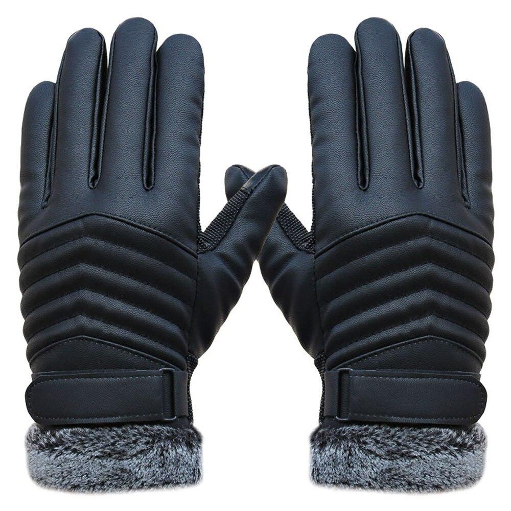 2019 Men's Windproof Gloves Leather Winter Mittens Anti Slip Screens Thermal Glove Hand Warmer Gloves Men Gants Homme Guantes