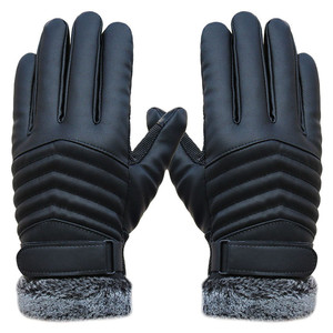 2019 Men's Windproof Gloves Leather Winter Mittens Anti Slip Screens Thermal Glove Hand Warmer Gloves Men Gants homme Guantes(China)
