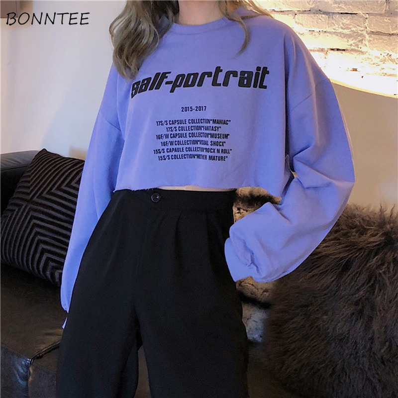Hoodies Women Cotton Short Elegant Sweet Chic Letter Printed Sweatshirt Lady Korean Loose All-match Womens Long Sleeve Simple