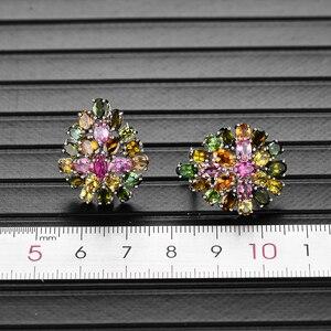 Image 4 - Bolai 100% 天然トルマリン高級スタッドピアス925スターリングシルバーマルチカラー宝石花の宝石クリスマス