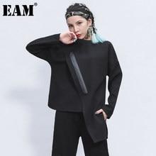 [EAM] kobiety czarny zamek nieregularne Stitch T-shirt w dużym rozmiarze nowy okrągły dekolt z długim rękawem moda fala wiosna jesień 2021 1Z348