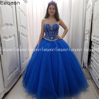 Sparkly 2020 Blue Beaded Crystals Quinceanera Prom Dresses Ball Gown Luxury Corsets Evening gown Party dress Sweet 16 Dress