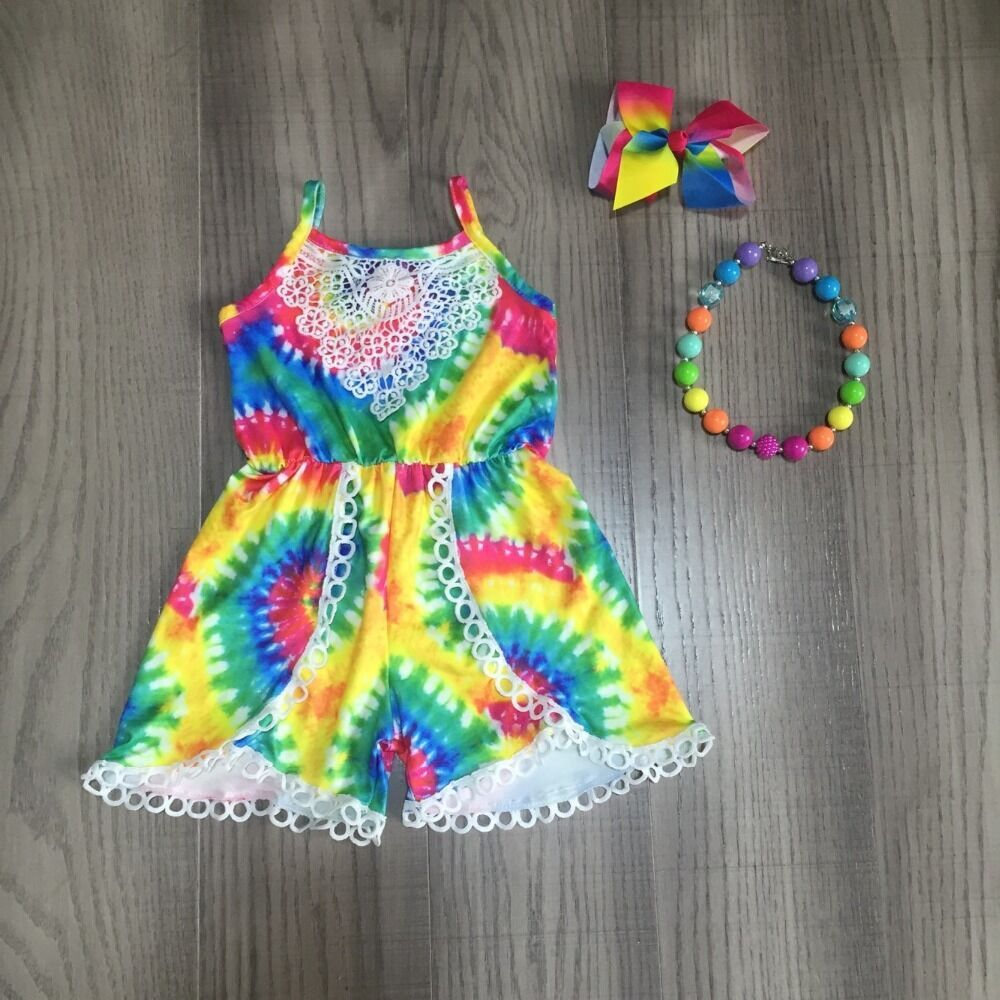 Baby Girls Tie Dye Romper Girls Summer Lace Romper With Accessories