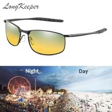 LongKeeper Day Night Vision Driving Polarized Sunglasses Men Glasses Anti-glare alloy glasses Square Shades Gafas UV400