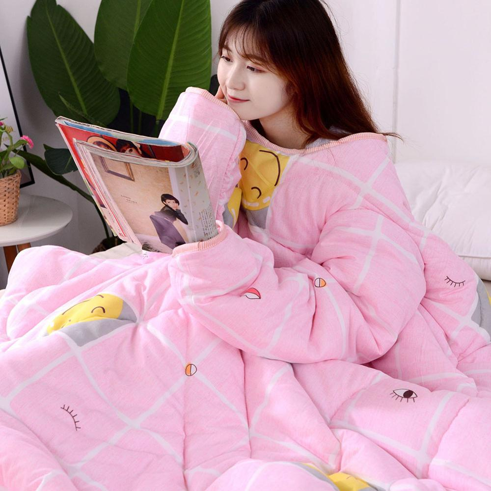 Winter Anti-kick Lazy Quilt With Sleeves Winter Keep Warm Thicken Multifunction Blanket For Student Dormitory Home Office Quilts
