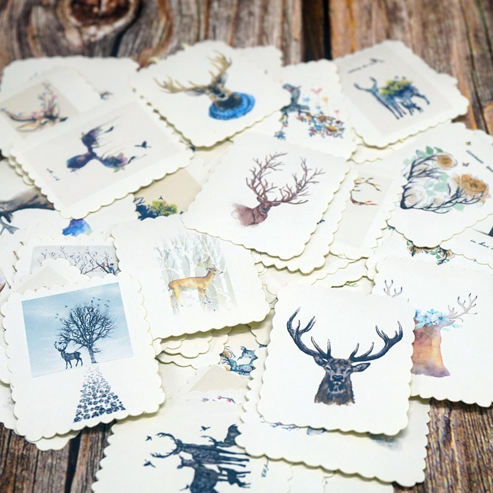 60pcs/Bag Cute Different Deer Stickers DIY Scrapbooking Stickers Small Gift Stickers
