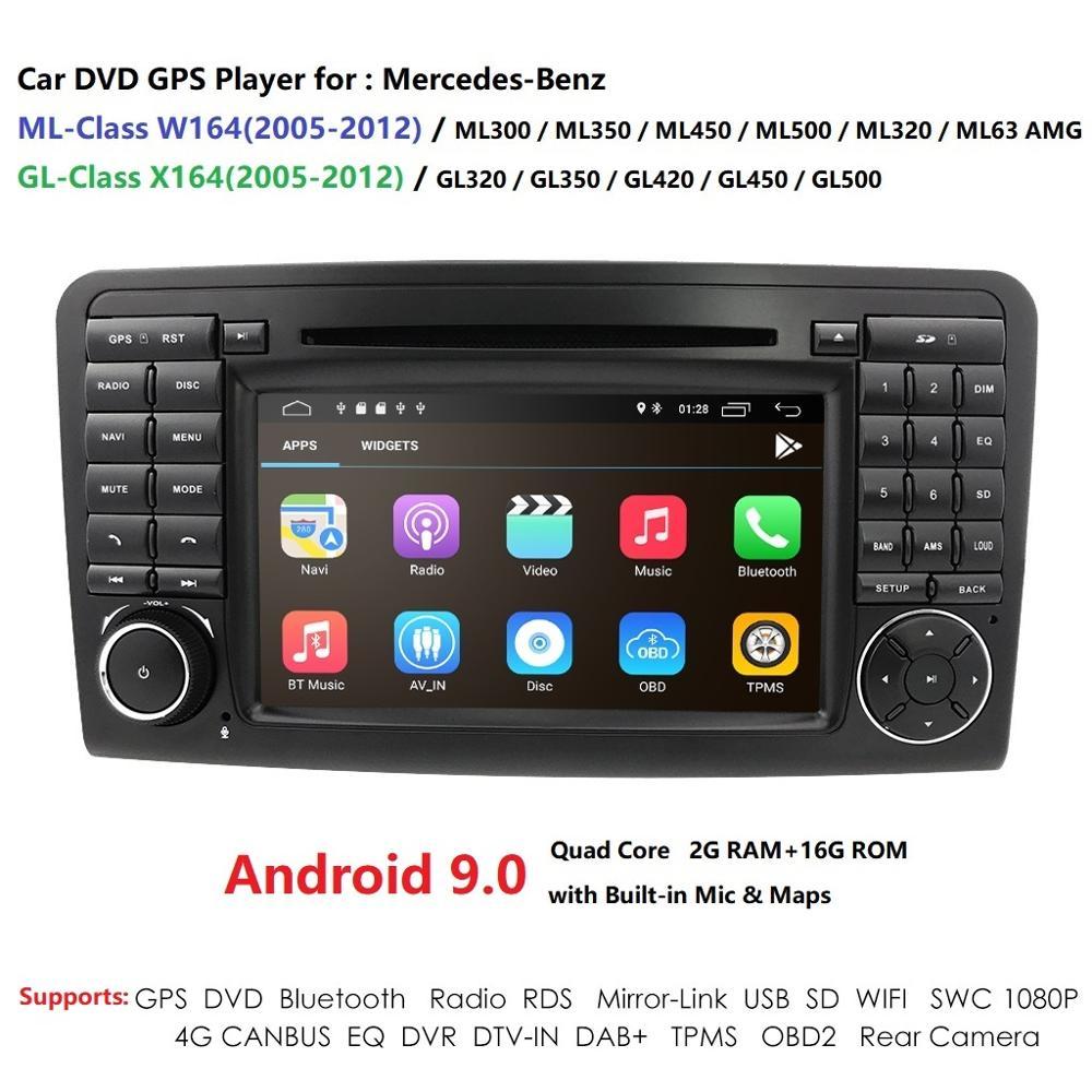 Lecteur DVD de voiture d'android 9.0 de noyau d'ips 4G 4 pour Mercedes Benz GL ML classe W164 ML350 ML500 X164 GL320 GPS radio stéréo dab rds tpms
