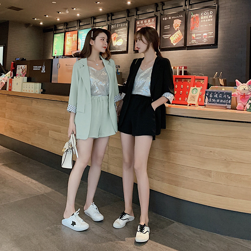 Customizable Best Friend-Elegant Small Suit Coat Women's  Spring Dungaree Shirt + Casual Shorts Three-piece Set F8043