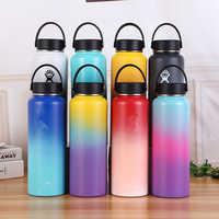 Botella de agua de acero inoxidable botella de agua hidropetaca con aislamiento al vacío boca ancha botella térmica portátil de viaje 32 oz/40 oz