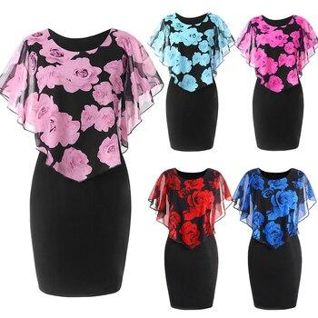 Plus Size Womens Dress Elegant Office Lady Rose Flower Print Cape Bodycon Knee Length Dress 3