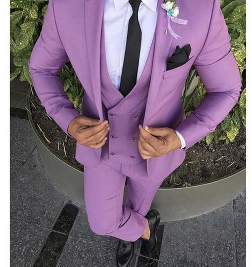 Handsome Purple 3 Pieces(Jacket+Pants+Vest) Mens Formal Suits Tuxedos Blazers Suits Peak  Lapel Custom Made Best Men Grooms