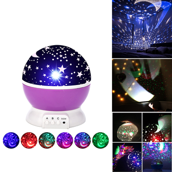LED Night Light Star Projector Moon Sky Rotating Battery Operated Bedside Lamp For Children Kids Baby Bedroom Nursery Gifts 1