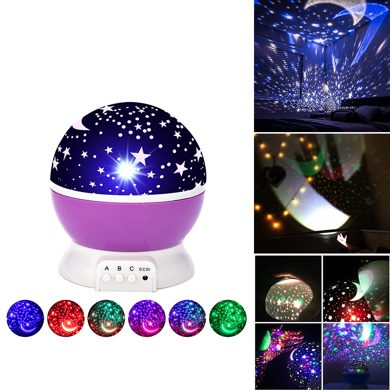 LED Night Light Star Projector Moon Sky Rotating Battery Operated Bedside Lamp For Children Kids Baby Bedroom Nursery Gifts|Night Lights| - AliExpress