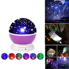 LED Night Light Star Projector Moon Sky Rotating Battery Operated Bedside Lamp For Children Kids Baby Bedroom Nursery Gifts