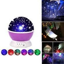 Luz de noche LED proyector de estrella Luna cielo giratorio con pilas lámpara de noche para niños bebé habitación regalos planetarium star projector